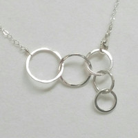 5 Linked Hammered Circles Necklace, Fine Silver Rings Necklace,  Mothers Necklace, Adjustable Circle Pendant Necklace Maggie McMane Designs