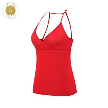 Skinny-Strap Sexy Tank With Shelf Bra - Women's Yoga Run Active Open Back Leisure Built-in Support Pad Cup Sports Clothing Top