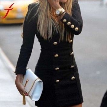 Spring New Black Dress Fashion Lady Women Slim Casual Long Sleeve Buttons Bodycon Cocktail Mini Dress#LSN
