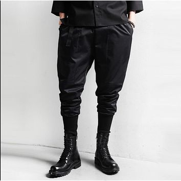 HOT 2017 Men new punk personality harem pants men feet nine points casual pants tide hairstylist nightclub Costumes trousers