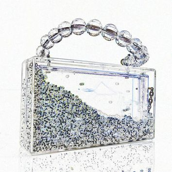 Women's Beaded Acrylic Handle Clutch
