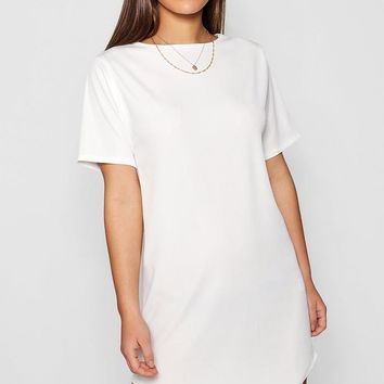 Petite Rib Curve Hem T-Shirt Dress | Boohoo