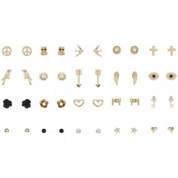 Lulu & Rose Accessories 20 Pack of Stud Earrings in Black and Gold - Glue Store
