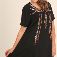 Floral Embroidered Dress - Black