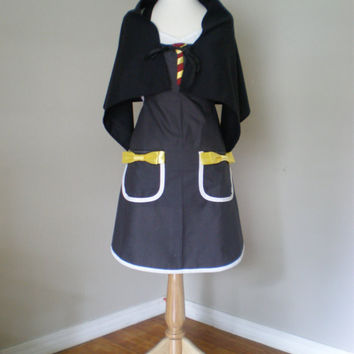Harry Potter Costume Apron with cape by HauteMessThreads on Etsy