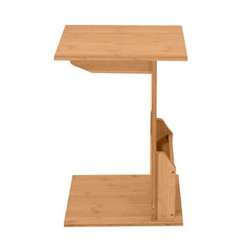 40x30x61cm L-shaped Bamboo Sofa Side Table Sandal Wood Color