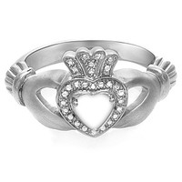 Kay - Lab-Created Opal Heart Claddagh Ring Sterling Silver