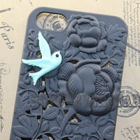 iphone 5 case,Floral Case ,blue bird with floral iphone case , black case for iphone 5 Case , Iphone 5 cover