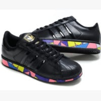 "Fashion ""Adidas"" Shell-toe Flats Sneakers Sport Shell-toe print Shoes Black(colorful soles)"