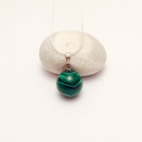 Round Gemstone Pendant, Semi Precious Malachite Stone and Sterling Silver 925 Chain, Birthstone Necklace, Modern Necklace, Gift Idea