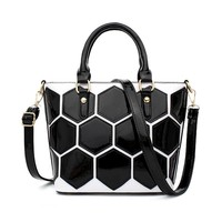 Novelty Honeycomb Dot Women Bag High Quality Italian Pu Leather 2017 Luxury Brand Female Shoulder Handbag Sac A Main Kabelky Bag