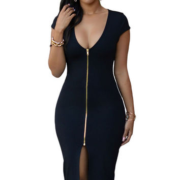 Black Gold Zipper Front Short Sleeves Midi Dress