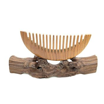Whole Wooden Combs Wide Tooth Green Sandalwood Hairbrushes Antique Hair Care Styling Tools L-K920