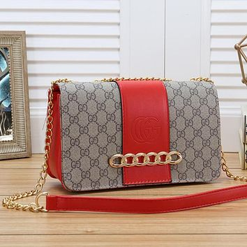 GUCCI Women Fashion Leather Chain Crossbody Satchel Handbag Shoulder Bag