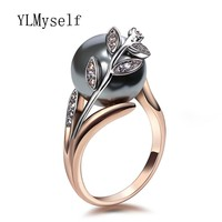 Rose gold ring with Gray Pearl for women Leaf Trendy jewellery dropshipping anel anillos aneis bagues femme statement jewelry