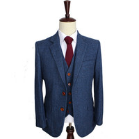Blue Herringbone Retro gentleman style Men custom made suits tailor made suits Blazer men suits for wedding(Jacket+Pants+Vest)
