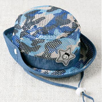 Baby Camouflage Bucket Hat Children Outdoor Camo Hollow Out Fisherman Hats With Wide Brim Sun Fishing Cap