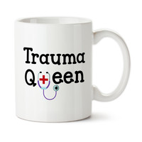 Trauma Queen, Gifts For ER Nurse, Doctor, Surgeon, Emergency Room Trauma Team, Custom Mug, Coffee Cup, Typography, Tea Mug, Stethoscope
