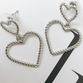 Kitty Heart Earrings // Silver