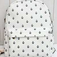 Canvas Backpack with Anchor Embellishment from topsales
