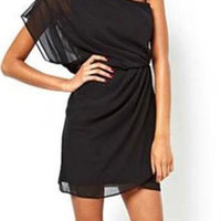 Black One-Shoulder Chiffon Dress