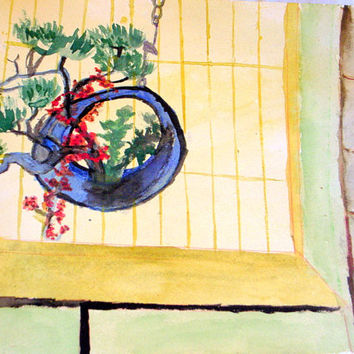 Japanese Flower Arrangement Watercolor I-Original Modernist Abstract Interior Painting-Pine In Hanging Container 12x16
