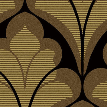 Damask Geometric Wallpaper in Metallic, Browns, and Black design by Seabrook Wallcoverings