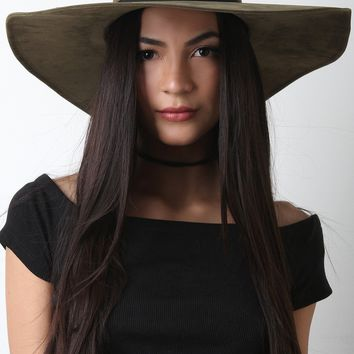 Wide Brim Floppy Vegan Leather Hat