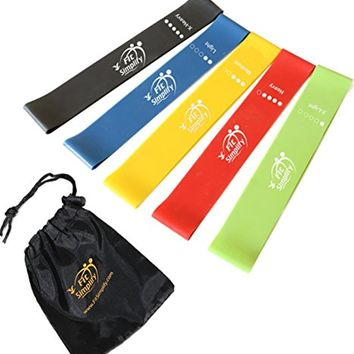 Resistance Loop Exercise Bands with Carry Bag and Instruction Guide - Set of 5