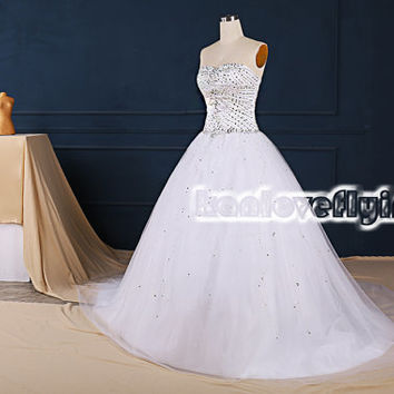 elegant white a-line sweetheart long train wedding dresses gowns,puffy white a-line wedding dress silver beaded top,white bridal gowns