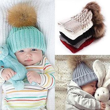 Baby Toddler Kids Boys Girls Knitted Caps Cute Hats Crochet Winter Warm Hat Cap 5 Colors