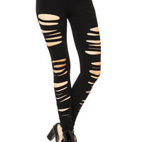 Ripped Stretch Leggings In Black