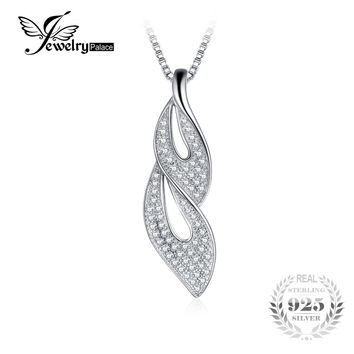 JewelryPalace lovely leaf 0.3ct Round Cubic Zirconia Pendant Real 925 Sterling Silver Jewelry For Women Not Include A Chain