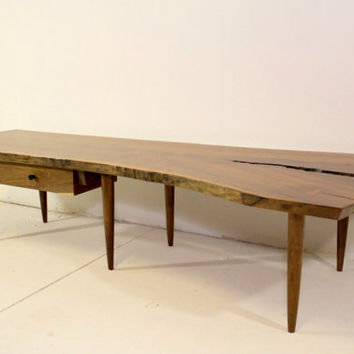 Walnut Live Edge Slab Crotch Cut Coffee Table Bench With Drawer Mid Century Studio Style