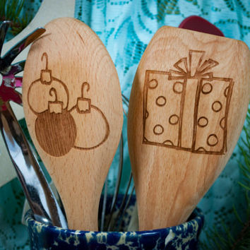 Slightly Naughty Christmas Kitchen Utinsels Engraved Beech Wood Personalized Gifts - Holiday Gift-Christmas Gift - Holiday Kitchen Ideas