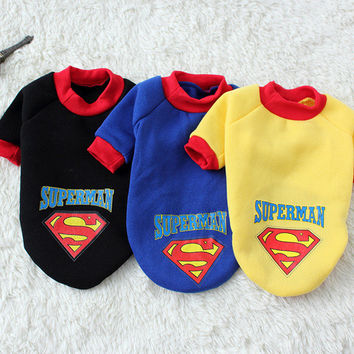 Pet Dog Puppy Cotton Superman Clothes Outfit Suit Cat Dog Clothing 1pcs/lot 3 Colors Free Shipping