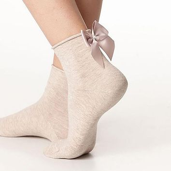 Summer Funny Gold Silver Wire After The Heel Ribbon Big Bow Short Socks Women Wild Chaussette Female Herring Ankle Socks