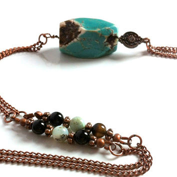 Boho Turquoise Magnesite Long Chain Tassel Pendant Necklace Bohemian Earthy Large Stone Genuine Opal Rustic Red Copper Pendant Necklace