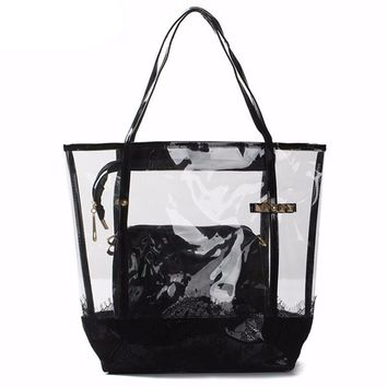 High quality PU Leather transparent women's hand bag