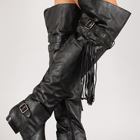 Round Toe Buckled Fringe Thigh High Boot