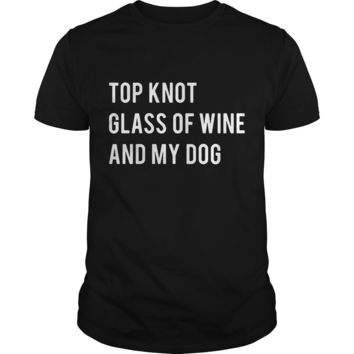 Top knot glass of wine and my dog shirt Premium Fitted Guys Tee