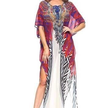 Red Maxi cover up Caftan
