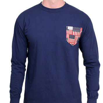 The Betsy Unisex Long Sleeve in Deep Sea Navy with American Flag Pocket by the Frat Collection