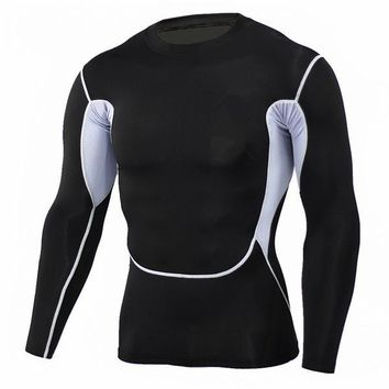 White Accent 3D Printed Compression Long Sleeve Shirt