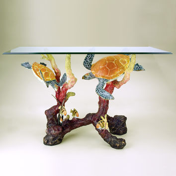 Console Table Constructed with Tampered Glass Top and Turtle Sea World Sculpture by SPI-HOME