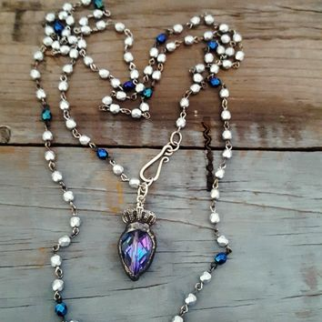 Long Silver and Blue Violet Crystal Crown Pendant Necklace