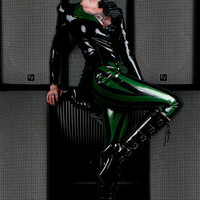 High Waisted Striped Latex Cropped Pant