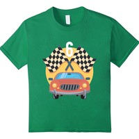 Kids 6th Birthday Car Racing Party Theme Shirt Gift For Boys