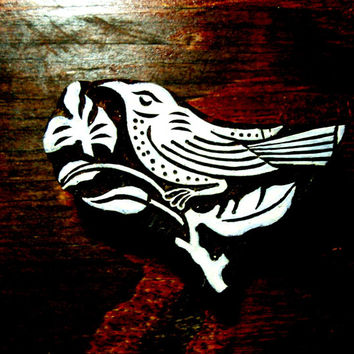 Bird on Branch Hand Carved Wood Stamp Animal Indian Printing Block--AN40
