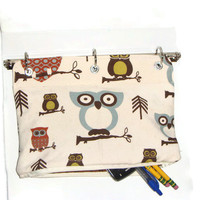 Binder Pencil Case OWL Pencil Pouch for 3 Ring Binder with Zipper  Back to School  School Supplies Ready to Ship Kids Gift Organizer